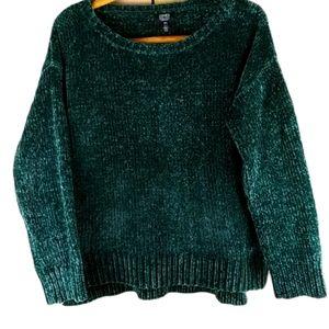 Jones New York velvet velvety feel green sweater